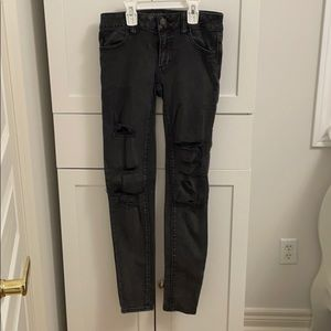 American Eagle Dark/Black-Washed Ripped Jeans